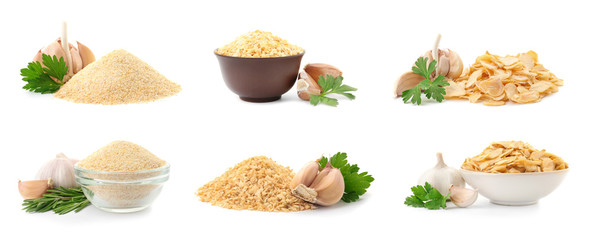 Set with dried aromatic garlic on white background Wall mural