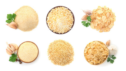 Set with dried aromatic garlic on white background, top view