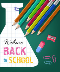 Welcome back to school lettering with pencils, eraser and sharpener. Offer advertising design. Handwritten and typed text, calligraphy. For leaflets, brochures, invitations, posters or banners.