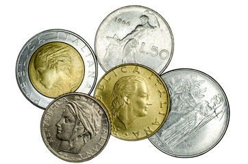 Different Italian coins.