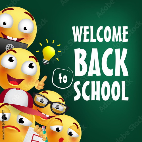 Welcome Back To School Lettering With Smileys Offer Or Sale