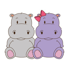 cute and adorable hippo couple characters