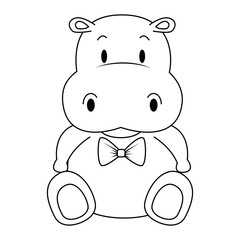 cute and adorable hippo character