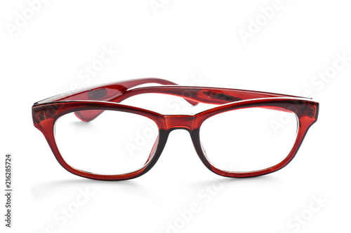 Glasses with corrective lenses on white background. Vision problem ...