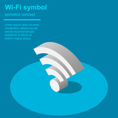 Wi-Fi sign isometric vector illustration.