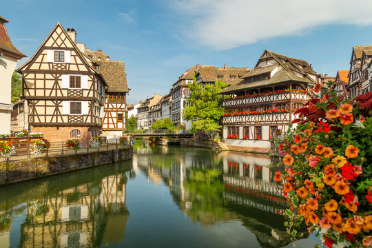 Little France (La Petite France), a historic quarter of the city of Strasbourg in eastern France. Charming half-timbered houses. Famous Maison de Tanneurs house.
