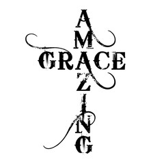 Amazing Grace Cross - text in cross shape. Christianity quote for design. Typography poster. Tattoo.