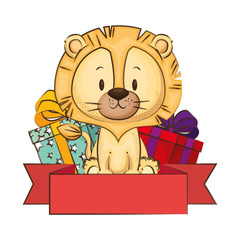 cute and adorable lion with gifts