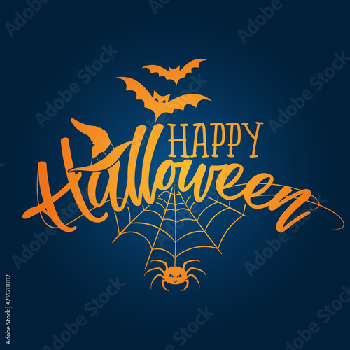 Happy Halloween Halloween Quote On Dark Blue Color Background
