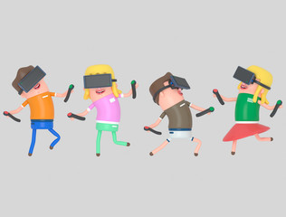 Boy and girl enjoying with virtual reality glasses.