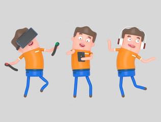 Boy enjoying with technology.Isolate. Easy automatic vectorization. Easy background remove. Easy color change. Easy combine. 5000x3800 - 300DPI