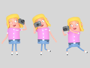 Girl taking a photo. Isolate. Easy automatic vectorization. Easy background remove. Easy color change. Easy combine. 5000x3800 - 300DPI