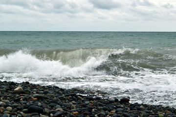 Powerful waves of the sea water photo