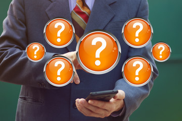 Wall Mural - Business button question service on phone icon.