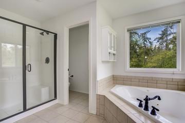 Master bathroom interior with corner bathtub.
