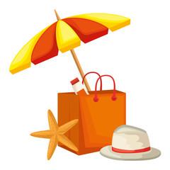 shopping bag with umbrella beach and starfish