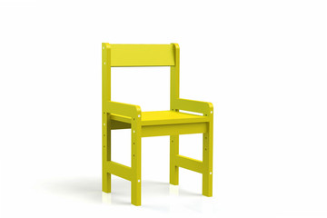 Little child wooden chair on a white background. 3D-model rendering chair.