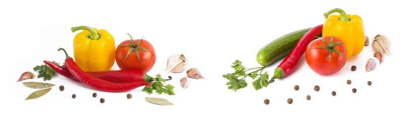 Panoramic view of red tomatoes, yellow pepper and bitter pepper on white background. A composition of multi-colored vegetables on a white background. Red bitter pepper with tomato and green cucumber o
