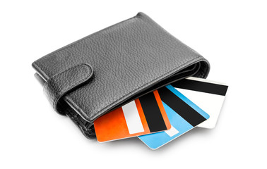 Wallet with credit cards on white background.