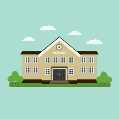 School building. Flat style vector illustration isolated.