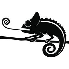 Icon chameleon. Flat symbol chameleon. Isolated black sign chameleon on white background. Vector Illustration