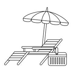 beach chair with umbrella vector illustration design