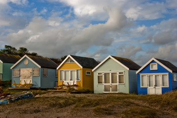 Beach huts at Hengistbury Head Christchurch Bournemouth Dorset England