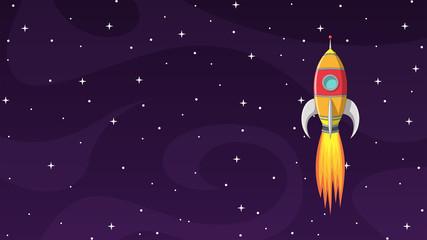 Cartoon Rocket In Space