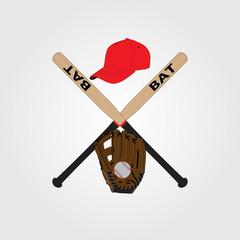 Vector illustration of a variety of baseball equipment: a bat, a ball