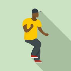 Hip hop dancer icon. Flat illustration of hip hop dancer vector icon for web design