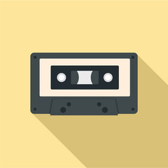 Music casette icon. Flat illustration of music casette vector icon for web design