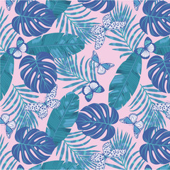 Tropical Flora Seamless Repeating Pattern with Butterflies
