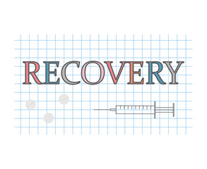 recovery word on checkered paper sheet- vector illustration