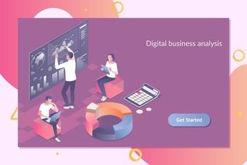 Business Analytics Technology Using Big Data. Business Team Investment Entrepreneur Trading Concept.3d isometric flat design.
