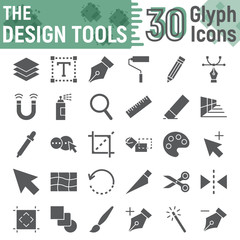 Design tools glyph icon set, graphic design symbols collection, vector sketches, logo illustrations, soft signs solid pictograms package isolated on white background, eps 10.