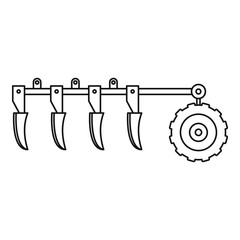 Tractor plow icon. Outline tractor plow vector icon for web design isolated on white background