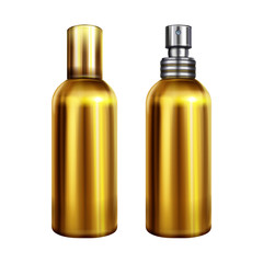 Perfume spray vector illustration of metallic golden bottle or container with silver sprayer cap closed and open. Isolated 3D realistic mockup model for premium brand design