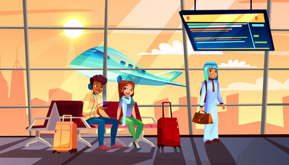 People in airport vector illustration of departure or arrival terminal flight schedule and airplane in window. Saudi Arabian man with travel bags and black Afro American boy and girl sitting on bench