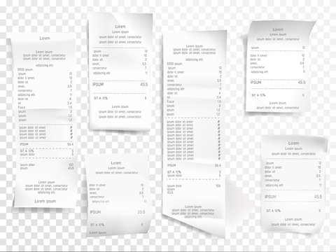 Receipts vector illustration of realistic payment paper bills for cash or credit card transaction with purchase items sum price from shop or sale store. Isolated 3D on transparent background