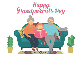 Happy Grandparents Day. Happy grandparents reading book with grandchild. Heartwarming grandparent family concept. Hand lettering. Original vector illustration.