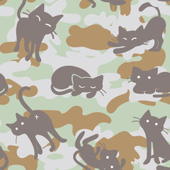 Seamless Vector Pattern with Camouflage Cats