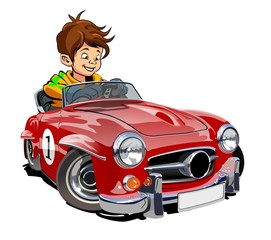 Cartoon retro car with kid driver