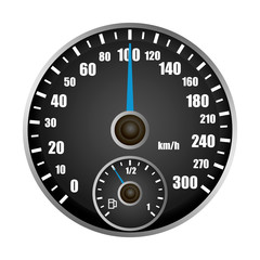 Speedometer mockup. Realistic illustration of speedometer vector mockup for web design isolated on white background