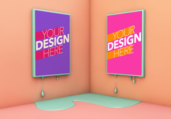 2 Melting Posters on Peach Wall Mockup
