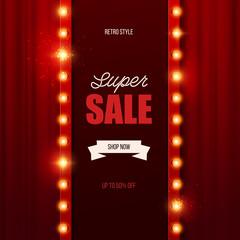 Retro light sign. Vintage sale banner. Vector illustration.