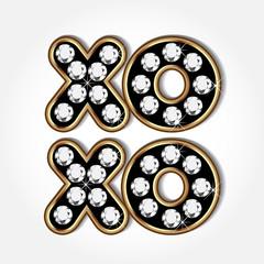 Gold and diamonds xoxo word vector icon image