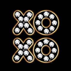 Xoxo gold and diamonds word background