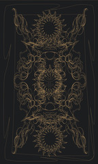 Tarot cards - back design.  Pluto, astrological symbol