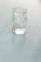Glass of frozen water