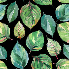 Beautiful lovely cute wonderful graphic bright floral herbal autumn green yellow leaves pattern watercolor hand illustration. Perfect for textile, wallpapers, wrapping paper